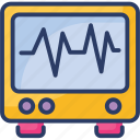 ecg, electrocardiogram, heart, lines, machine, monitor, rate icon