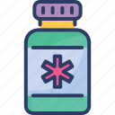 bottle, doctor, healthcare, medicine, pills, syrup, treatment icon