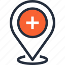 pin, navigation, hospital, location, healthcare, medicine, pointer