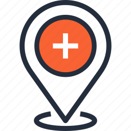 healthcare, hospital, location, medicine, navigation, pin, pointer icon