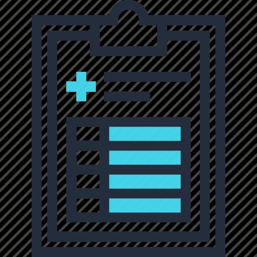 clipboard, document, medical, prescription, record, report, test icon