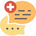 comment, communication, conversation, forum, health, medical, message icon