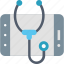 diagnosis, internet, medical, mobile, online, smartphone, stethoscope icon