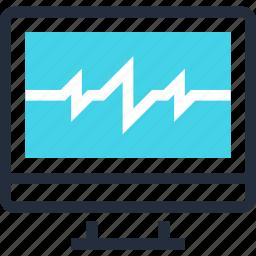 cardiogram, computer, diagnostic, health, medicine, monitor, pulse icon