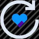 arrow, heart, like, love, refresh, reload, sync