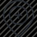 center, healthcare, location, medical, medicine, nearby, thin line icon