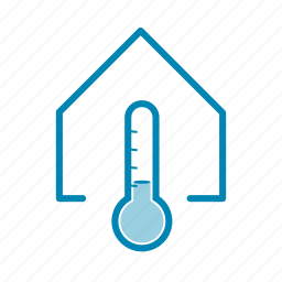house, inside, low, temperature, thermometer, weather icon
