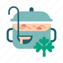 cooking, cuisine, food, pot, soup, vegetable icon