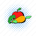 apple, broccoli, carrot, comics, healthy, vegetable, vegetarian icon
