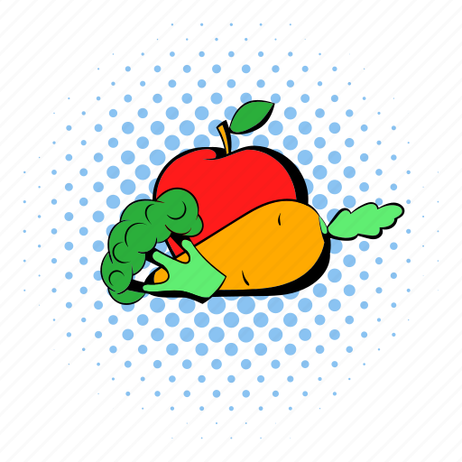 apple, broccoli, carrot, comics, healthy, vegetable, vegetarian icon