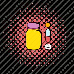 comics, health, healthcare, medical, medicine, pill, vitamin icon