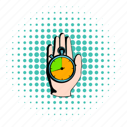 clock, comics, hand, sport, stopwatch, time, watch icon