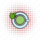 beverage, comics, cup, drink, leaf, mug, tea icon