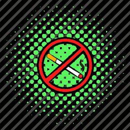cigarette, comics, forbidden, health, no, tobacco, warning icon