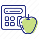 apple, calculator, calorie icon