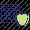 apple, calculator, calorie