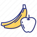 apple, bananas, diet, fruits icon