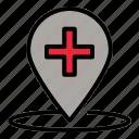 map, hospital, location, pin, medical