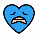 worried, face, heart, emoji, smiley