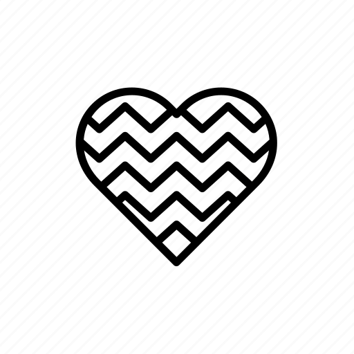 decorated, heart, love, printed, strip, striped, stripes icon