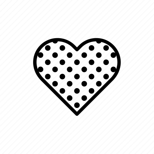 decorated, dots, heart, love, print, printed, valentine's day icon