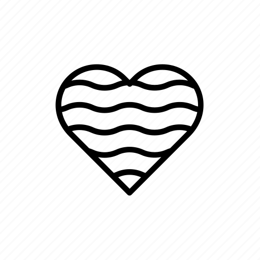 decorated, heart, love, print, printed, striped, stripes icon