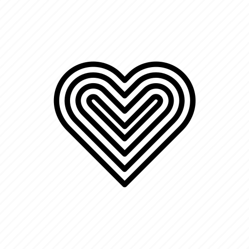 decorated, heart, love, print, printed, striped, valentine's day icon