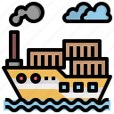 boat, cargo, container, crusier, ship, ships, transportation icon