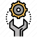 gears, home, improvement, maintenance, repair, screwdriver, wrench icon