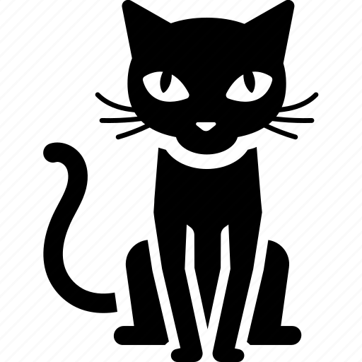 black cat, cat, halloween, scary, sit icon