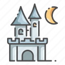 architecture, building, castle, fantasy, halloween, moon, tower icon