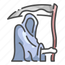death, evil, ghost, grim, halloween, reaper, scythe icon