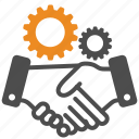 hand, gear, agreement, support, work, agree, helpdesk icon