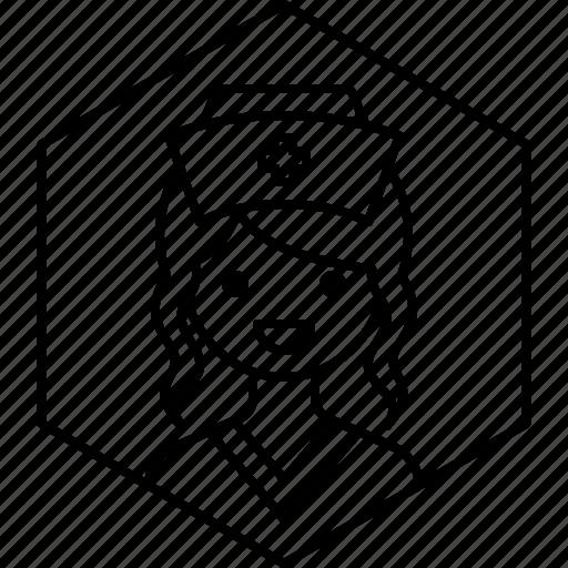 avatar, girl, hat, nurse, profile, woman icon