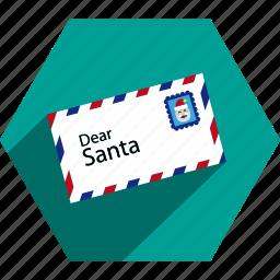 christmas, claus, letter, santa icon