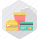 card, expense, food, food bill, meal, pay, payment icon