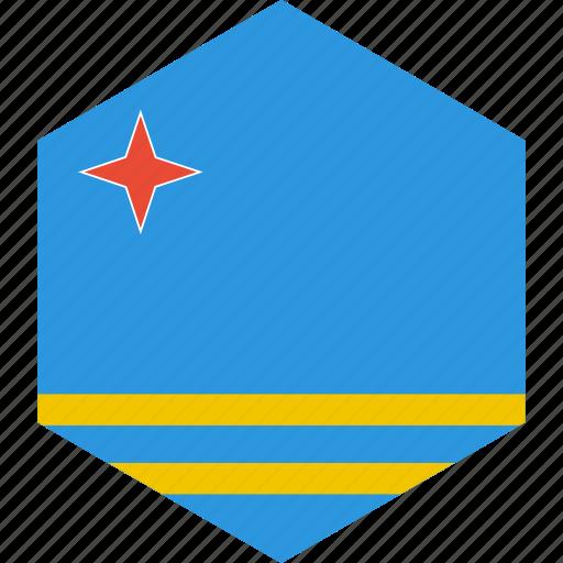 aruba, country, flag, world icon