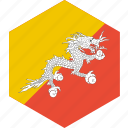bhutan, country, flag, world icon