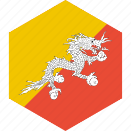 bhutan, country, flag, world icon