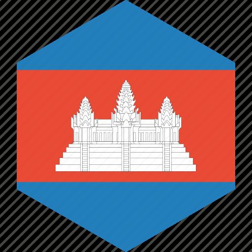 cambodia, country, flag, world icon