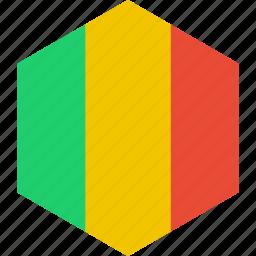 country, flag, mali, world icon