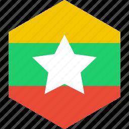 burma, country, flag, myanmar, world icon