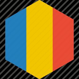 country, flag, romania, world icon