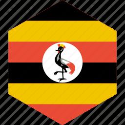 country, flag, uganda, world icon