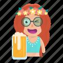 avatar, beer, drinking, emoji, emoticon, hippie, woman