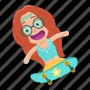 avatar, emoji, emoticon, hippie, skateboard, skating, woman