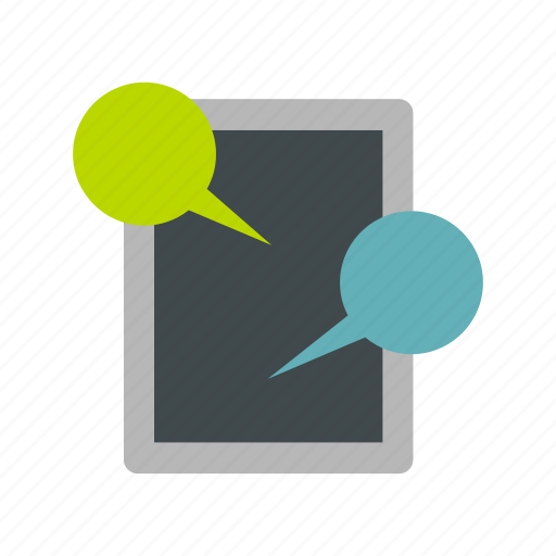 bubble, message, mobile, screen, speech, tablet, technology icon