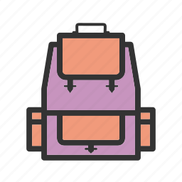 back, backpack, bag, journey, object, travel icon