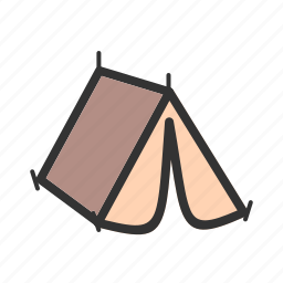 camp, camping, family, landscape, river, summer, tent icon