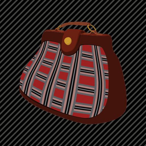 bag, cartoon, hand, leather, male, men, vintage icon